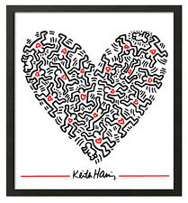 Keith Haring HEART OF MEN Framed 16x20 Pop Art Print