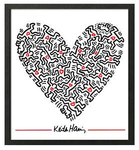 Keith Haring HEART OF MEN  Framed 16x20 Pop Art Giclee Print **SALE