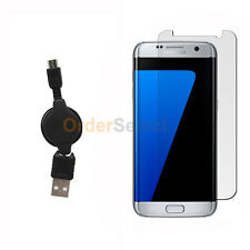 Usb Micro Retract Cable+Lcd Screen Protector for Phone Samsung Galaxy S7 Edge