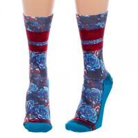 Floral Captain America 1 Pair Women's Sublimated Crew Socks Juniors Avengers
