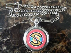 CAPTAIN SCARLET CHROME POCKET WATCH WITH CHAIN (NEW)