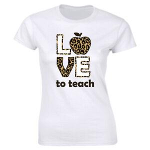 Love To Teach with Leopard Print T-Shirt for Women Teacher Tee