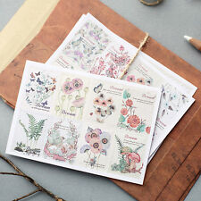 3pcs vintage flower stamp paper sticker DIY diary decorative seal sticker album