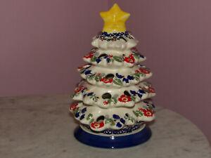 Polish Pottery Christmas Tree Tea Light! UNIKAT Signature Exclusive Zoey!