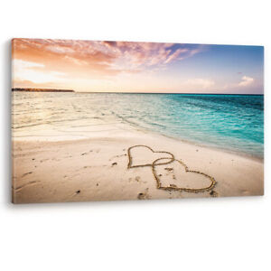 Love Hearts in the Sand Beach Large Luxury Canvas Wall Art Picture Print A0 A2