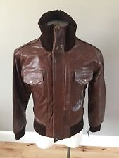 NWT Knoles & Carter Military Leather Bomber Jacket Size Men Medium Brown
