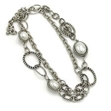 Premier Design Silver Tone Rope Chain Necklace Faux Pearl