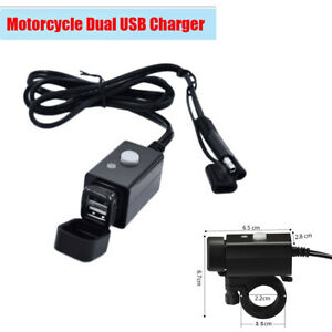 Waterproof Dual USB Charger SAE Cable LED Power Indication For Suzuki Honda BMW