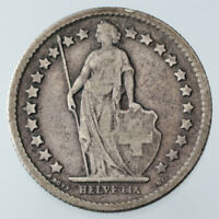 1875-B Swiss 1/2 Franc VF Condition KM #23