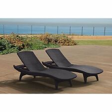 New 2 Chaise Keter Lounge Chairs Outdoor Grey Wicker Adjustable Back Seating