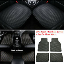 Universal 3Pcs PU Leather Car Seat Covers Pad+4pc Car Floor Mats Car Accessories