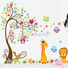 Owl Animal Wall Stickers Lion Jungle Zoo Tree Nursery Baby Kids Room Decal Art