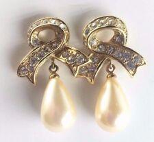 RICHELIEU Vintage Gold Tone Bow w/ Rhinestones Pearl Drop Earrings *Quality*