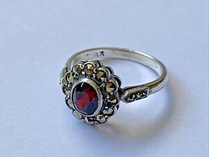 Vintage Sterling Silver Marcasite & Garnet Ladies Cluster Ring size - L