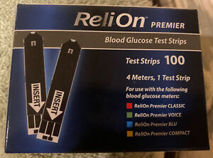 ReliOn Premier Blood Glucose Test Strips, 100 count Exp: 2022 or 2023 Free Ship