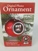 NEW Digital Christmas Photo Ornament 2MB holds 60 pics for tree or Stand W/Box