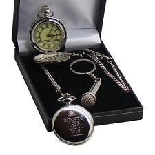 LEMMY Quote POCKET WATCH & Microphone Keyring Motorhead  Luxury Gift Box Set