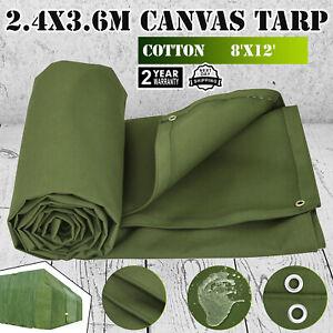 8' x 12' Canvas Tarp 2.4X3.6M Green Cotton Tarpaulin 8X12 FT Protect Equipment