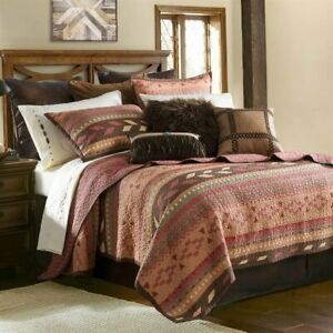 Broken Arrow Southwestern Country Farmhouse Ranch Quilted Queen 3-Piece Bed Set