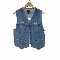NWT VINTAGE SOLUTIONS DENIM VEST EMBROIDERED AMERICAN FLAG PATRIOTIC SIZE M