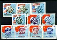 RUMANIA / ROMANIA  año 1963 C.A. yvert nr.199/208 sin dentar  usada cosmos