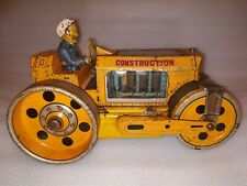 VINTAGE OLD BATTERY OPERATED DAIYA ROAD ROLLER TIN PLATE TOY MADE IN JAPAN 1970