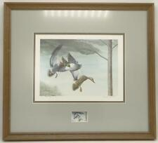 1985 Kentucky Duck Stamp Print Signed Ray Harm Mallards Framed Matted