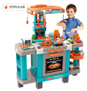Children's Play Kitchen Set And Accessories With Sounds And Lights, Pots And Pan
