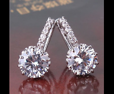 Silver Rhodium Solitaire Earrings With Genuine Swarovski Crystals Bridal