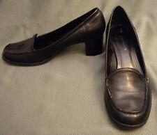 Black Leather Bandolino Pumps ~ Black Stacked Heel ~ Flexible Sole ~ Size 10