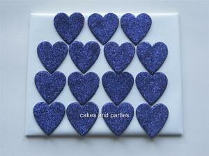 15 X EDIBLE PURPLE GLITTER HEARTS. CAKE DECORATIONS - MEDIUM 3cm