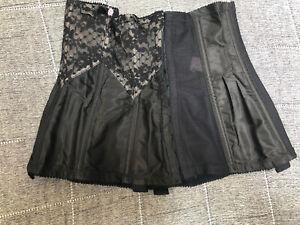 Lady Marlene Corset Waist Cincher Vintage 1980s Black Nylon 77 24