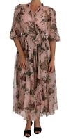 DOLCE & GABBANA Dress Silk Bengal Cat Pink Shift Wrap Gown IT42 /US8/M RRP $4300