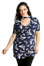 New Womens Top Plus Size Ladies T-Shirt Butterfly Print Choker Neck Nouvelle