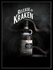 "RELEASE THE KRACKEN, Metal Sign Man Cave Pub Bar Kitchen Gift  (10"" x 8"")"