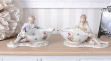 Zwei Prunkschalen galantes Paar Rokoko Porzellan Porzellanschale Figuren