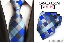 Blue, Grey and Black Patterned Handmade 100% Silk Tie