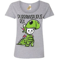 Purranysaurus rex T-Shirt funny cat t rex Womens Ladies Scoop