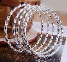 925 Sterling Silver Plated Spiral Bracelets Bangles 5pc set