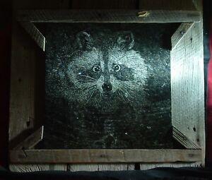 ORIGINAL Stone Art Granite ETCHING Barn Lumber Raccoon HANG Hdwr,' Night Thief'