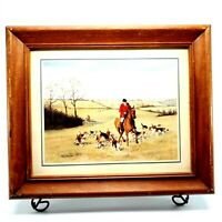 """Vtg Fred Groves Framed Print Hunting in the Fields Horse Dogs Equestrian 10x12"""""""