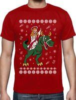 Jesus Ride T-Rex Dinosaur Funny Raptor Ugly Christmas T-Shirt Gift
