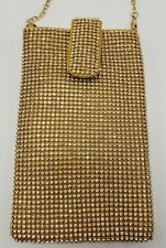 Evening Purse Cell Phone Pouch Gold Rhinestone Sparkle Bling Strap Flap NEW