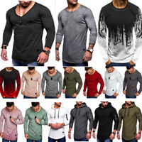 Mens Longline Long Sleeve Tee Shirt Tops T-shirt Slim Fit Muscle Blouse Pullover