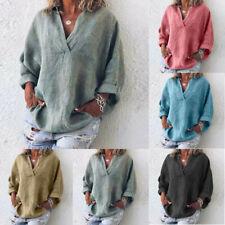 6c6e73a459e Boho Womens Long Sleeve Cotton Linen Kaftan Ladies Baggy Blouse Tee Shirt  Tops