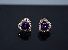 14K Solid Yellow Gold Purple Heart Shape Stud Earrings 1.5TCW