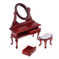 Dollhouse Miniature Dressing Table Stool Mirror, 1/12 Scale Life Scene Model