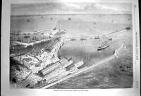 Original Old Antique Print 1870 Channel Railway Ferry Station Pier Dover Route
