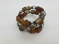 CHUNKY NEW HANDMADE MIXED CLEAR AND LIGHT BROWN MEMORY WIRE BRACELET B189