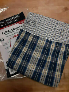 Roundtree & Yorke 2-Pack Full-Cut Boxers, Yellow Plaid, Size 56